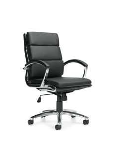 Offices to Go Black Luxhide Segmented Cushion Tilter Conference Chair